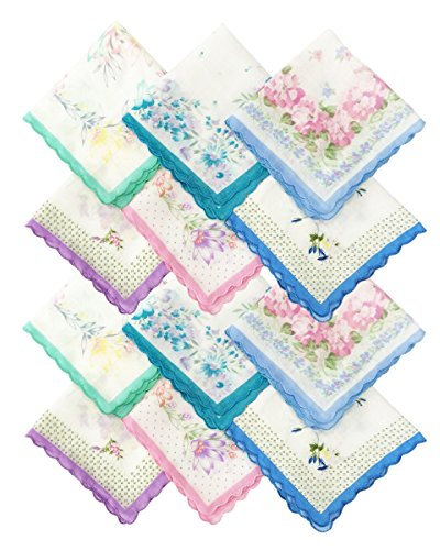 Rosewood Women's Cotton Floral Printed Handkerchief (Multicolour,Medium) - Pack of 12