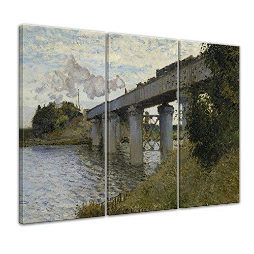 Bilderdepot24 Kunstdruck - Alte Meister - Claude Monet - Die Eisenbahnbrücke von Argenteuil - 90x60cm dreiteilig - Leinwandbilder - Bilder als Leinwanddruck - Bild auf Leinwand - Wandbild (Impressionistischen Aquarell)