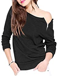 Mode Feminine A Manches Longues Glissiere Laterale Col Rond Hauts Manteau Blouse Sweatershirt