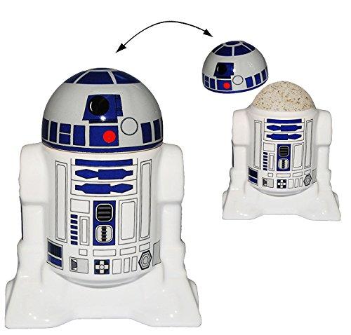 Unbekannt Eierbecher mit Deckel -  Star Wars - R2-D2  - Porzellan / Keramik - Eier Halter - für Erwachsene & Kinder - Roboter Droide - Starwars Clone - Eierwärmer - K..