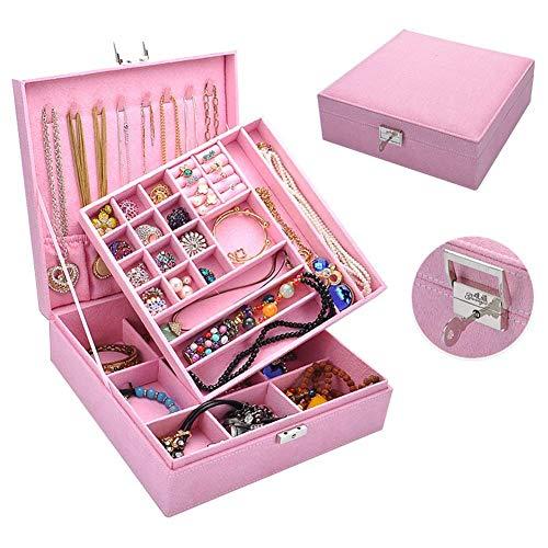 FXXUK-Schmuckkästchen Schmuck Organizer Box, Schmuck Aufbewahrungskoffer Abnehmbare Ablage für Ohrring Halskette Bracelet & Watch Organizer,9 -