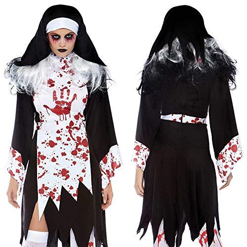 Kostüm Beängstigend Vintage - GLXQIJ Erwachsene Tödlich Beängstigend Dämon Blutig Religiöse Nonne Halloween Kostüm, Legends of Evil, Kleid & Kopfbedeckung,Black,M
