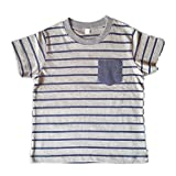 Orange and Orchid Cotton Blue Striped Pocket Kids T-shirt - Grey