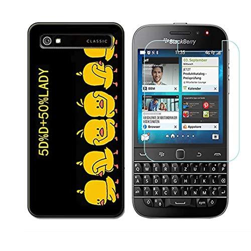 YZKJ Funda para Blackberry Classic Q20 Transparente Carcasa Silicona TPU Suave Caso Case + Protector de Pantalla Cristal Templado Film Película Protectora para Blackberry Classic Q20 - NM4