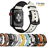 Chok Idee Sweatproof Leder Strap für Apple Watch Armband 44mm 42mm, Hybrid Sport Band Vintage Leder Bands Ersatz Straps für iwatch Series 4 Series 3 2/1,White