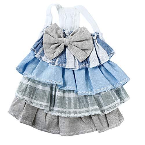 MOONQING Hundekleid Haustier Bowknot Cupcake Kleid Puppy T-Shirt Kleine Hundeweste, blau, M