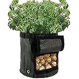 2pieza Macetero bolsillos Saco 34x 35cm–Macetero saco con ventilación, plástico bolsillos, patatas bolsillos con pestaña, patatas para verduras, patatas, zanahorias y cebollas