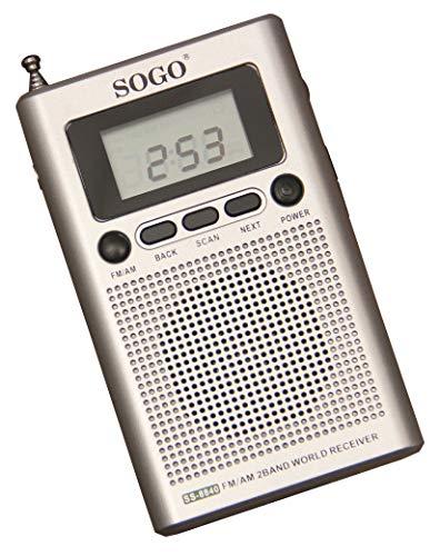 SOGO SS-8840 Radio Digital Am/FM de Bolsillo, Portátil, Sintonizador Automático, Altavoz Incorporado, Reloj Alarma - Color Gris