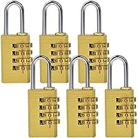 MENGS® 6pieza mg214Combinación Candado de latón y barra de acero con 4dígitos Número Código para bolsillos, portamaletas, schatullen, cartuchos, armarios, spinden, etc.