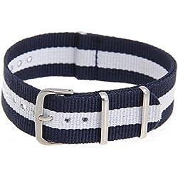 SODIAL(R) La correa ajustable de lona blancas azules oscuros a rayas para piezas de reloj