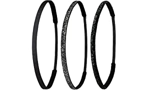 Ivybands® | Non-Slip Hair Bands | Pack of 3 | Black, Black Glitter & Black Special Glitter | 1 cm Wide Super Thin Hair Bands | IVY003 IVY261 IVY212