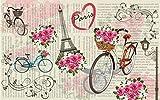 BHXINGMU 3D-Tapeten Benutzerdefinierte Fototapeten Nordic Paris Fahrräder Blumen Schlafzimmer Wandbilder Tapetenaufkleber 280Cm(H)×400Cm(W)