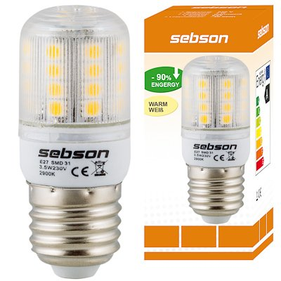 E27 31 LED [sebson®] (320lm - Warm-Weiß - 31 x 5050 SMD LED - 360º Abstrahlwinkel - E27 Sockel - 230V AC - 3,5W - Ø32×80mm) von sebson-media auf Lampenhans.de
