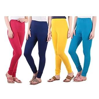 Diaz Cotton Lycra Leggings For Women Pack Of 4