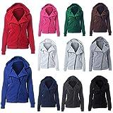 DEELIN Mantel Damen Jacke Hoodie Sweatshirt Pulloverkapuze Kurze Windjacke Warm Zip Up Thermal Einfarbig Freizeit Women Coat