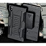 Sony Xperia M4 Aqua Funda, Cocomii Robot Armor NEW [Heavy Duty] Premium Belt Clip Holster Kickstand Shockproof Hard Bumper Shell [Military Defender] Full Body Dual Layer Rugged Cover Case Carcasa (Black)