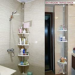 Crystals (R) 120cm-300cm 4 Tier Adjustable Stainless Telescopic Shower Corner Bathroom Shelf Rack Caddy - Heavy Duty