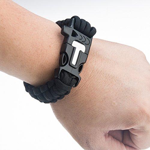 Multifunktionsüberlebens -Armband mit Flint, Whistle und kleine Messer für Outdoor wie Camping, Wandern, Bootfahren (Black)