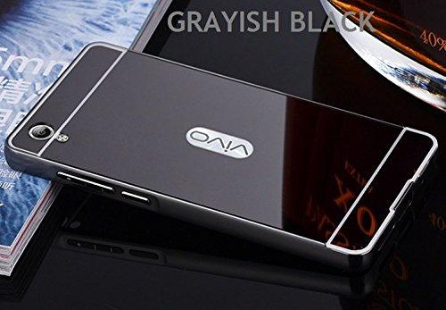 G M Brothers Luxury Mirror Aluminium Metal Bumper Back Cover Case For VIVO Y51/Y51L (Grayish Black)