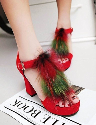 UWSZZ Die Sandalen elegante Comfort schuhe Donna-Sandali - Büro und Arbeit/Casual-Tacchi/Tick/Plateau-Quadrato - Felpato-Nero / Blau / Rot Black