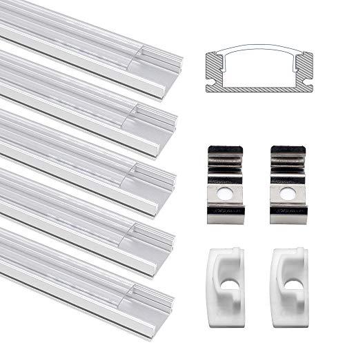 LED Aluminium Profil, Jirvyuk LED Aluminium Kanalprofil U -Form 5 Pack 1M/3.3ft Aluminium Extrusion Track klar Deckel Endkappen Metall Befestigungs clips (Transparent-U)