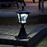 Lámpara solar clásica de Festive Lights de 42cm para exterior, de color negro, con ledes en blanco