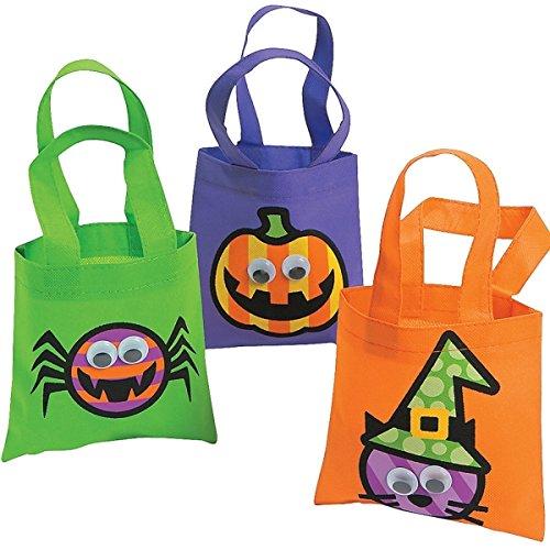 3 x Halloween Tasche Beutel Spinne Kürbis Hexe Halloweenparty Gruselparty Kulleraugen Kinder (In Halloween Kostüme Zwerge)