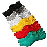 Ueither Calcetines de hombre antideslizantes de algodón de corte bajo (Tamaño:38-44, Color 7 (6 Pares))