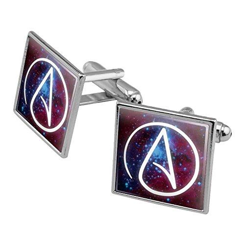 Atheist Atheismus Symbol in Platz Manschettenknöpfe, quadratisch Set Silber Farbe