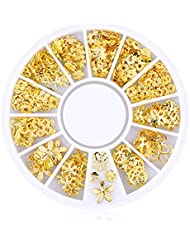 Ruiting 200 Stk 3D Mini Nagel Kunst Bolzen Aufkleber Glitter Metall Charme Nail Zubehör Modische DIY Nagel Schönheits Dekoration Blumen Reihe Beauty Misc