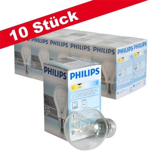 Preisvergleich Produktbild Philips Glühlampe, 40W, Klar, Birnenform, 10 Stück, 926000000885