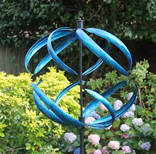 Creekwood Sphere Wind Sculpture Spinner 180 cm de hauteur – Bleu