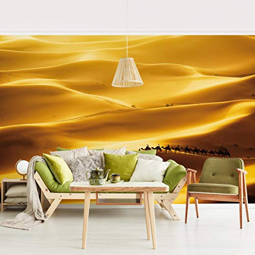 Fototapete selbstklebend - Golden Dunes - Wandbild Querformat 190 x 288 cm - Sonnenaufgang In Der Wüste Fertig
