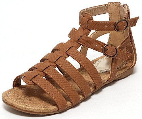 Mädchen Römersandalen Sandale Gr. 27-36 Riemchensandalen Sandalette Schuhe braun (36)
