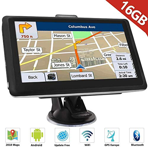 "HiEHA 7"" Zoll GPS Navigationsgerät Navi Navigation LKW PKW Bluetooth Europe Traffic Android 16GB 512MB Blitzerwarnungen POI Fahrspur- und Parkassistent lebenslang kostenlose Karte-Updates"
