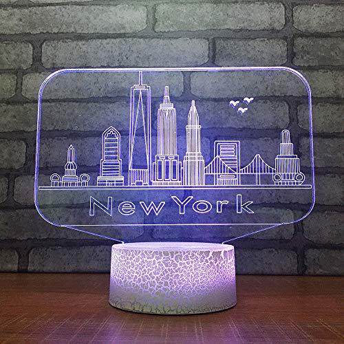3D Usb 7 Cambio De Color Novedad Botón Táctil Lámpara De Mesa Nueva York Arquitectura Led Simulación Led Atmósfera Luz Nocturna Regalo