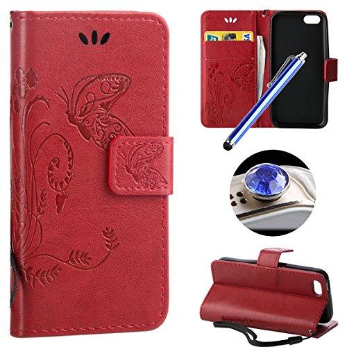 Etsue für iPhone 5C Leder Schutzhülle Ledertasche Flip Case Cover Hülle Handytasche Magnetverschluss Book Stil Handy Hülle Wallet Tasche Schutz Schale mit Standfunktion und Karte Halter für iPhone 5C  Lanyard,Butterfly,Rot