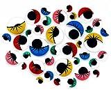 Oblique-Unique® Bunter Wackelaugen Mix - 100 Stück - mit Wimpern - verschiedene Größen