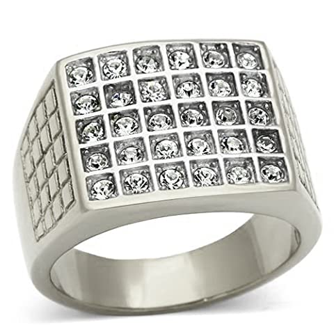 Ah! Jewellery® Men's Highly Polished Solid Stainless Steel Ring. World's Finest Flawless Simulated Diamonds.Total Weight of 12.4gr. Total Width of 16mm. Outstanding Quality.