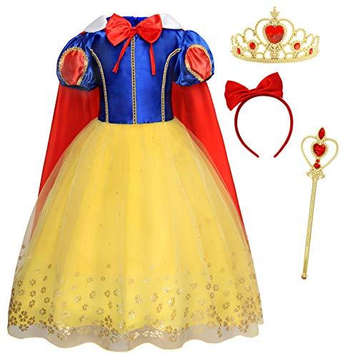 Schneewittchen Kostüm Kleid Kinder Mädchen Verkleidung Schick Party Kleider Halloween Karneval Cosplay Geburtstag Ankleiden Kleidung mit Kap, Gelb 02, 9-10 Jahre ()