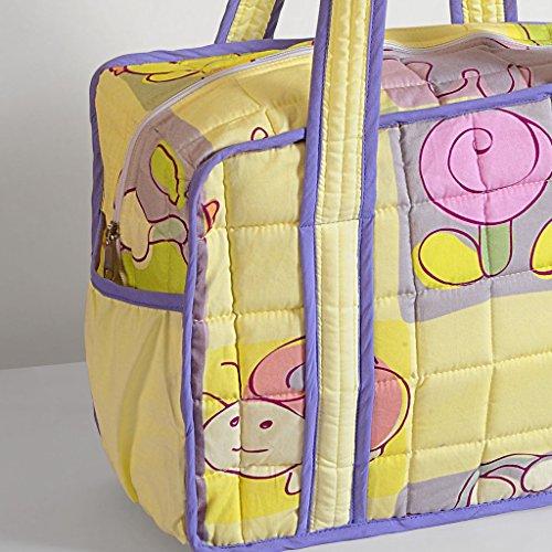 Yuga Trendy Digitaldruckwickeltasche für Mamas mit 3 Taschen Wasserdicht Innenstepp 12 x 16 x 8 Zoll Hellgelb