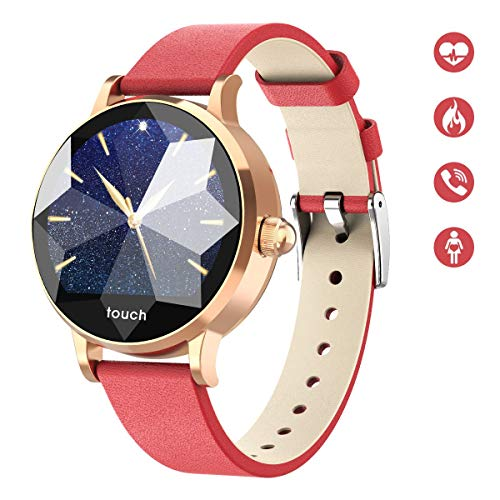 HopoFit HF01 Fitness Tracker HR, Blutdruckmessband, SmartWatch mit Herzfrequenz, Wasserdicht, Schrittzähler, Kalorienzähler, Activity Tracker für Frauen, Kinder, iPhone und Android (red)