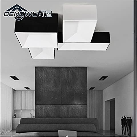 LYXG 3 dimensioni di una libera combinazione di moderna lampada da soffitto luci studio ristorante 24W soggiorno arte luce LED quadrati di luce da soffitto nero ,03 luce calda