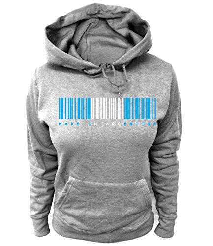 Artdiktat Made in Argentina   Für Damen Herren Kinder   Strichcode Barcode Fußball Fan Trikot Wm Weltmeisterschaft 2018 Damen Hoodie Größe XS, Grau (Adidas-argentinien-weltmeisterschaft)