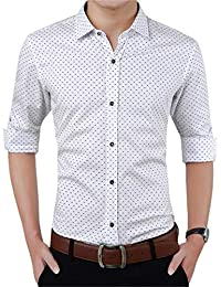 a96ba9616 AIYINO Mens Slim Fit Long Sleeve Plaid Printings Business Checked Shirt