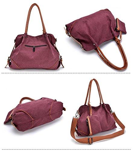 MoliMode Frauen Fashion Canvas Handtaschen Crossbody Beutel Wallet Mobiltelefon Geldbeutel Schlüsselhalter 3 Stück Set Kaffee