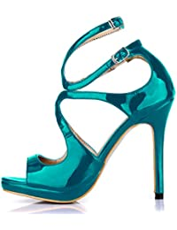CHMILE CHAU Zapatos Para Mujer-Sandalias de Tacon Alto de Aguja-Talón Delgado-Sexy-Novia o Dama-Boda-Nupcial-Vestido de Fiesta-Punta Abierta-Correa de Tobillo-Plataforma 1cm