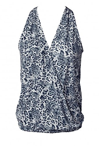 CURARE Yogawear Flow #158 Top mit Wickeloptik leoprint-blue