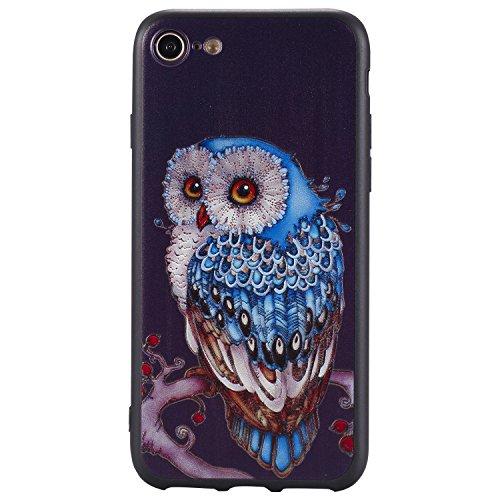 Apple iPhone 7 Hülle, Voguecase Silikon Schutzhülle / Case / Cover / Hülle / TPU Gel Skin für Apple iPhone 7/iPhone 8 4.7(Elefant 14) + Gratis Universal Eingabestift Blaue Eule 04