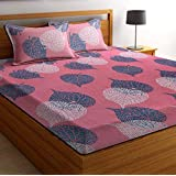 BSB HOME Glace Cotton 160 TC Big Floral Printed Double Bedsheets with 2 King Size Pillow Cover (90X90 Inches, 7.5 x 7.5 Feet,